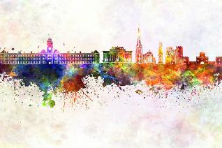 Skyline of Preston in ink colour