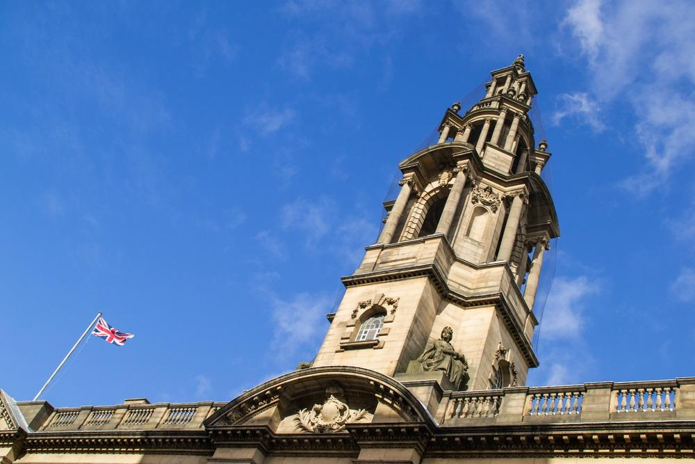 Town Hall in Preston roof with flag flying