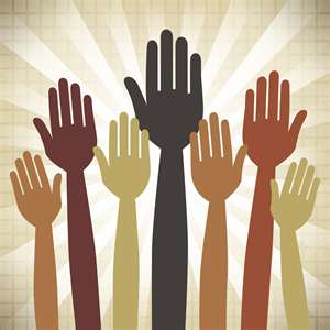 A cartoon image of various size hands in the air