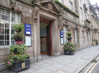 The entrance to the Town Hall in Preston