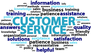 A circle of words which represent customer service