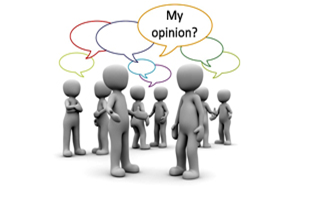 Pretend people talking with a speech bubble saying My Opinion?