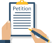 A cartoon of a hand and pen with a clipboard with paper saying Petition