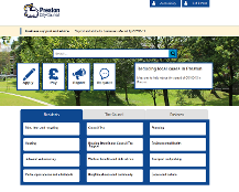 Screenshot of Preston City Council's home page website.