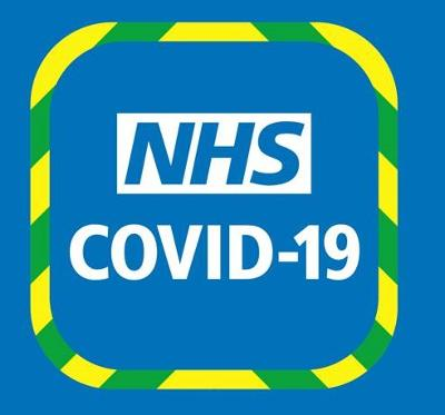 NHS Covid-19 App symbol on a blue background