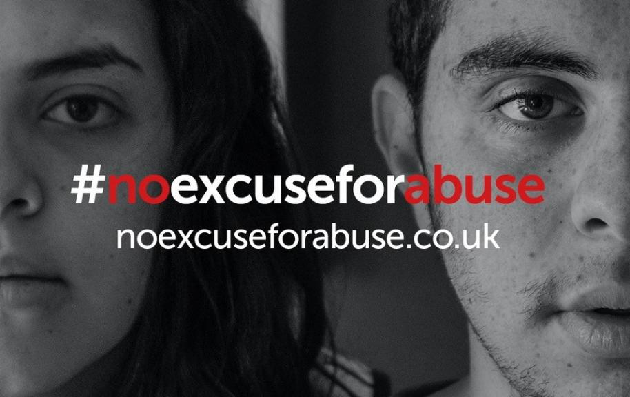 No excuse for abuse campaign with male and female face