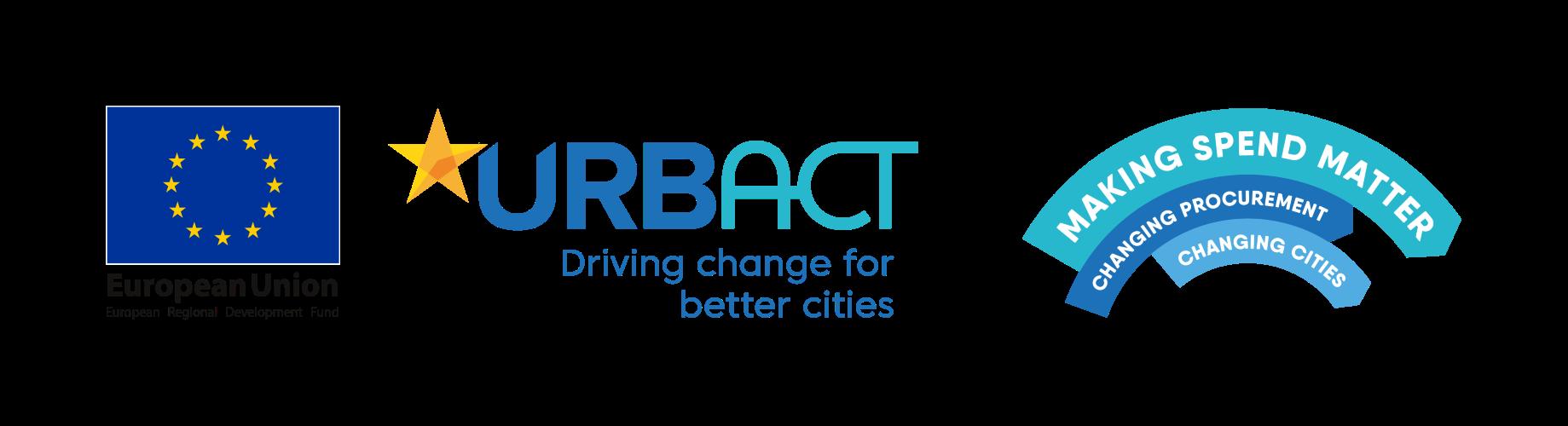 European Union, URBACT and Making Spend Matter logos