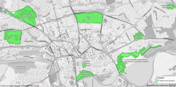 Location of all eight strategic sites in Preston